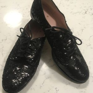 Kate Spade Paxton Black Sequins Oxfords Lace Ups 8